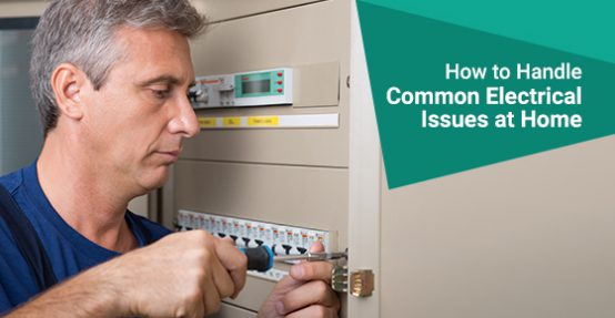 A man solving electrical issue at home